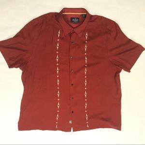 Nat Nast SS Retro Bowling Red Silk Blend Shirt 2XL